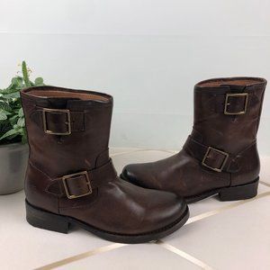 Frye Vicky Engineer Chocolate Brown Leather Boot